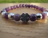 Lucky  Clover Bracelet , Amethyst Bracelet,  Hematite Beaded Bracelet , Gemstones Stretch Bracelet