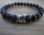 Mens Bracelet, Men Lion Bracelet , Lion Snowflake  Obsidian Bracelet,Gemstone Stretch Bracelet, Purity,  Healing Stones, Free Shipping
