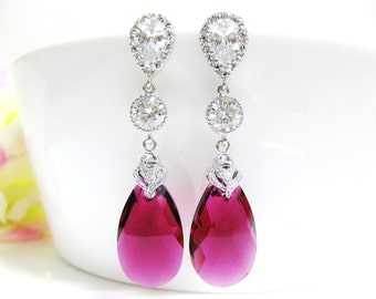 Fuchsia Teardrop Earrings Swarovski Ruby Earrings Hot Pink Earrings Cubic Zirconia Earrings Wedding Jewelry Red Earrings (E156)