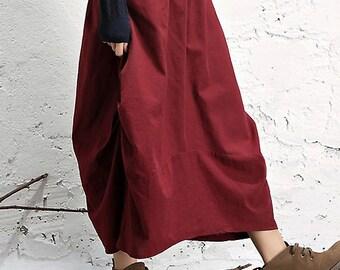Women spring skirt Winter Linen Skirt Cropped skirt Petite Skirt Wine red skirt with pocket (WS11192)