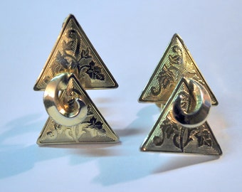 Vintage Coro Clip Earrings Goldtone Double Triangle Embossed with Leaf Design Coro Jewelry
