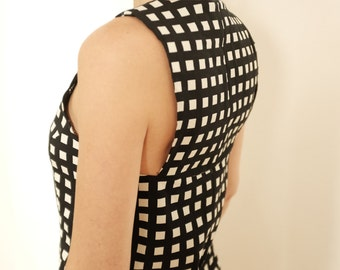 Cotton Top - Black and White Top - Sleeveless Shirt - Stretch Top - Tank Top - Office Shirt - Womens Clothing - Top and T-Shirt - Summer Top