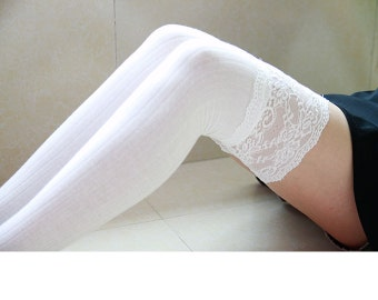 Cotton Long Sock White Lace Thigh High Socks for Kinds of Parties Wedding Dress Ruffle Socks for Bridesmaids Cotton Knee High Sock 01011109B