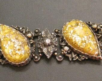 Vintage Selro Bracelet Confetti Lucite Teardrop Cabochons