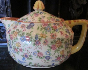 Vintage Chintz Floral Teapot from the 1950's