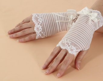Lace Fingerless Gloves | Wedding Bridal Bohemian Romantic Gloves | Gothic