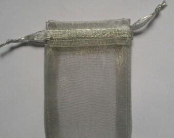 100 Silver Organza Bags 3 x 4 favor bags wedding packaging beads, herbs