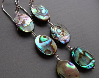 Abalone Shell Drop Earrings, Triple Stone Dangle, Long Earrings, Holiday Gift, Natural Shell, Blue Grey, Sterling Silver and Shell - SAN