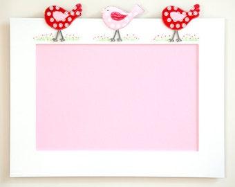 Pin Board - Bird Design - Cherry Red/Pink, Photo Board, Art Display, Notice Board, Memo Board, Pin Board