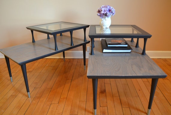 Black Mid Century Modern Step Side/Accent Tables By