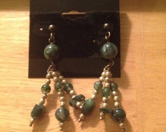 Raw Jade Dangle earring  w gold highlights