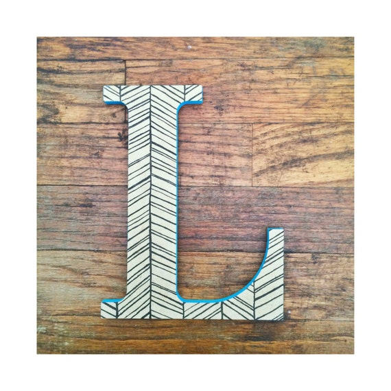 Hanging wooden letter l decorative wall letter l herringbone - Decorative wooden letters for walls ...