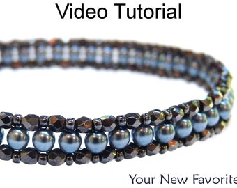 Video Tutorial Bracelet Right Angle Weave RAW Beaded Jewelry Making Pattern MP4 Instructions Directions Beadweaving Stitch Beads #9650