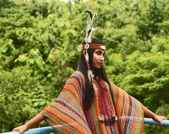 Ulu Indian style headband, feathers headband, native american inspired headband