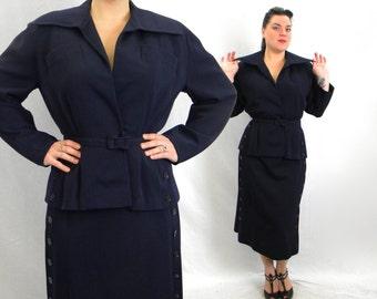 50s Navy Gabardine Suit | Wool Jacket & Skirt | Dan Millstein | Large