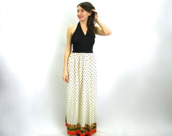 70s Black White Polka Dot Maxi Dress | Border Print Halter Dress | Medium