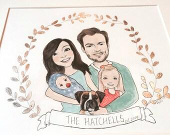 Custom Family Portrait Illustration with Silver Leaf Crest