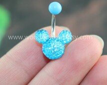 Blue Mouse Blue Crystal belly button ring,Stud Bar Barbell Navel Piercing Ring Stud Piercing