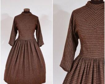 Vintage 1950s Jonathan Logan Dark Brown Striped Wool Dress M