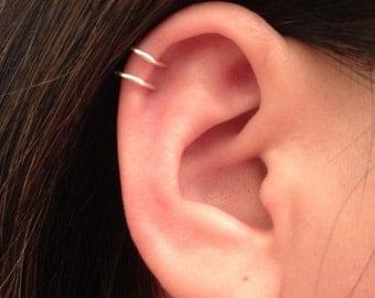 No Piercing required! Double loop Ear cuff, Sterling Silver or Gold filled 14K, 20 ga or 18 ga. Cartilage. Fake piercing. Gauge Earrings.