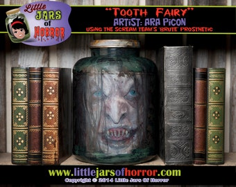 "Head in a Jar Monster ""Tooth Fairy / Witch"" Halloween Decor / Haunted House Prop  - Horror, Zombie, Walking Dead, Scary"