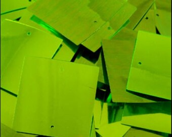 Metallic Lime Green Square Sequins 25mm - JR04689