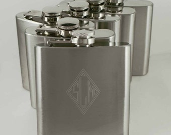 Groomsman Gift, Eight personalized stainless steel flasks, metal flask, hip flask, monogramed flask, pocket flask