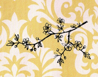 Cherry Blossom Branch Stamp: Wood Mounted Rubber Stamp