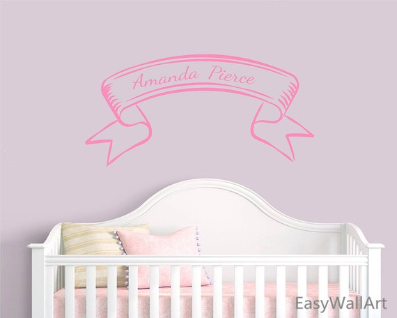 Customized Kid's Name on Lace Wall Decal - Custom Kids' Name Wall Sticker for Nursery, Kid's Room,  Personalized Name  Wall Decor #C47