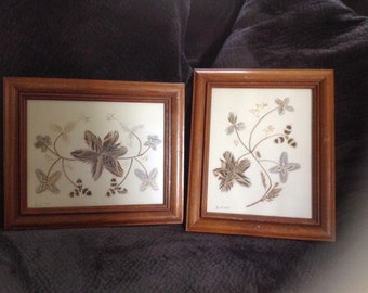 Two Framed Feather Folk Art Pieces