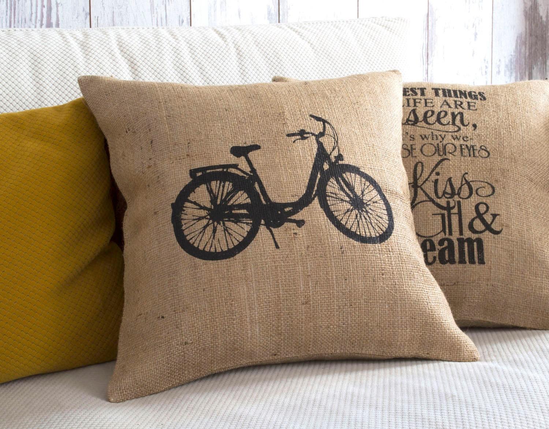 Throw Pillows With Bikes : bicycle pillow throw pillow bike pillow burlap pillow