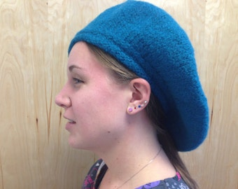 Outlander inspired blue wool hand felted Scottish tam/bonnet/hat similar to the one Dougal, Jamie and the Highlanders wear