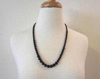 Black Glass Bead Vintage Necklace