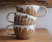 MILKY DRIBBLE MUG - Textural Stoneware Mug  - Wheel Thrown - Made to Order - Free Postage Australia Wide