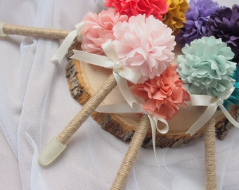 Wedding Guest Book Pen - Rustic Wedding Pen - Fabric Peony Flower Pen
