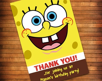 SpongeBob Thank You Card, SpongeBob Birthday Party, Sponge Bob Thank You Card -  PRINTABLE