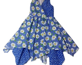 Girls Blue Handkerchief Dress with Printed White Flowers