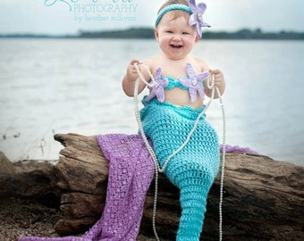 Aqua Mermaid Crochet photo prop set, Newborn to teen,Photography Outfit, Handmaid Boutique, mermaid Costume