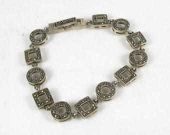 Vintage Sterling Silver Marcasite Link Bracelet 7 inch