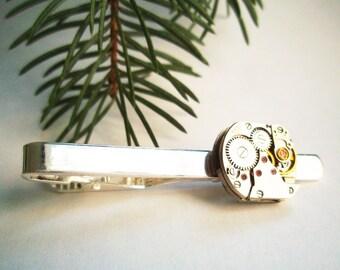 Steampunk tie clip, tie bar, tie pin silver tone