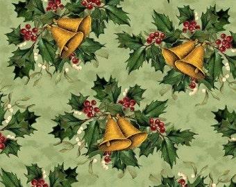 Christmas Peace - Green Bells Fabric