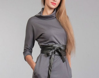 Dress gray Long sleeve Jersey dress autumn dress with drape office dress