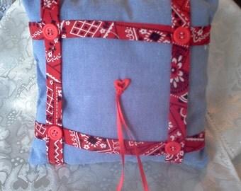 Blue denim Wedding ring pillow red trim