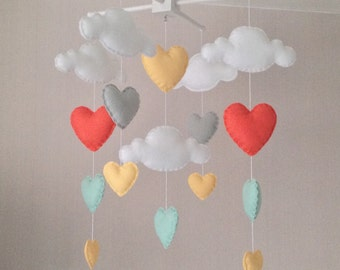 Baby mobile - Cot mobile - clouds and hearts - Cloud Mobile - Baby girl mobile - Nursery Decor - Pastel Nursery - Pastel baby mobile