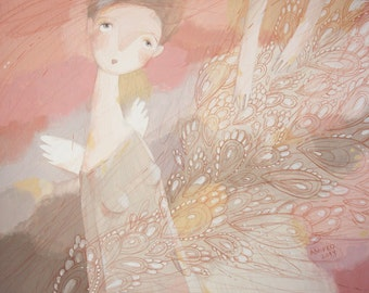 Original painting-Pastel Colors-Angel-Pink and Gray-Wall Art