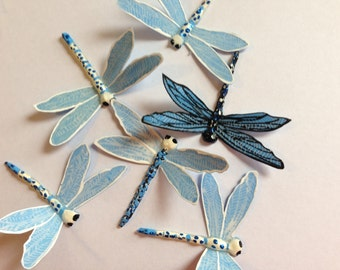 Blue & White Dragonfly brooch or hairclip
