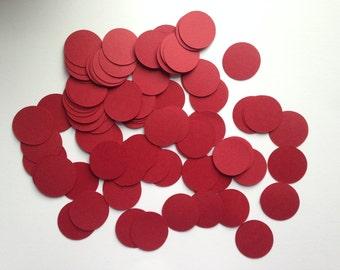 Dark Red Circle Confetti (1 inch), Red Wedding Confetti, Dark Red Paper Circles, Red Party Decor