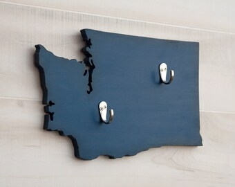 Washington or any US state shape wood cutout sign home organizer wall art with key hooks. College Dorm Office Country Decor. 35 colors