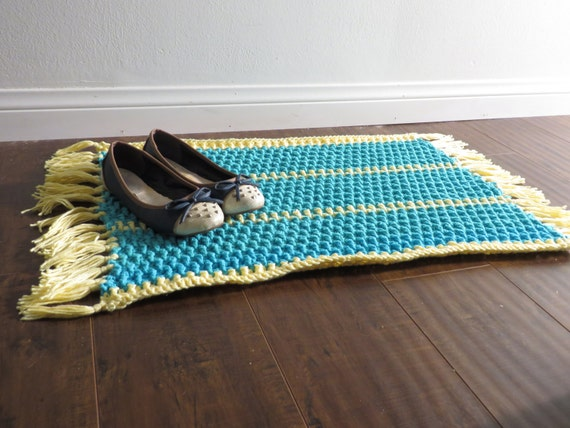 Crochet Cotton Rug, Made to Order, Two Color Horizontal Stripes