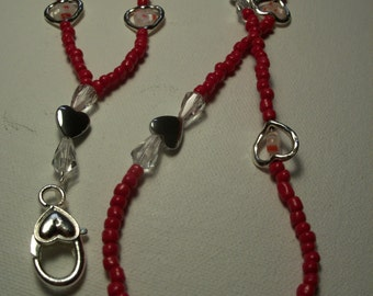 36 inch glass bead red Valentine Lanyard